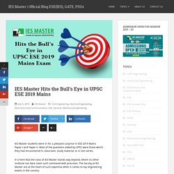 IES Master Hits the Bull's Eye in UPSC ESE 2019 Mains