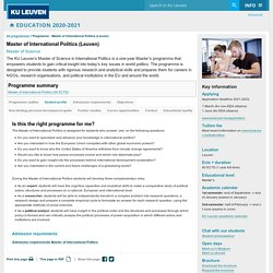 Master of International Politics (Leuven) - KU Leuven