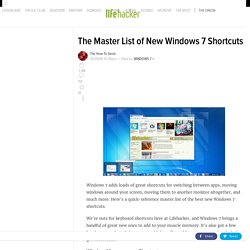 The Master List of New Windows 7 Shortcuts - Windows - Lifehacke