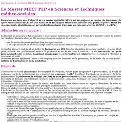 Le Master MEEF 2nd degré PLP STMS