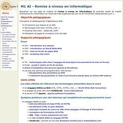 Master AI - Module de remise à niveau - page de L. Médini