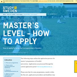 Master's programmes: how to apply