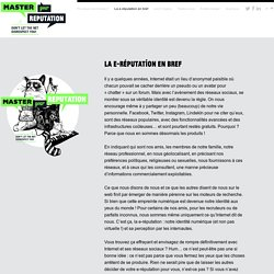 Master your reputation - La e-réputation en bref