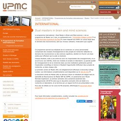 Dual master in brain and mind sciences (master BIP) -Université Pierre et Marie CURIE