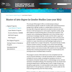 Master of Arts degree in Gender Studies (one-year MA)