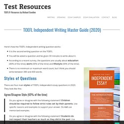Master the TOEFL Independent Essay (2020)