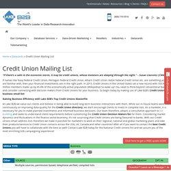 Credit Union Email List , Mailing Addresses