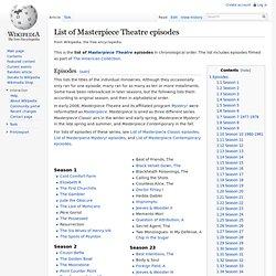 List of Masterpiece Theatre episodes