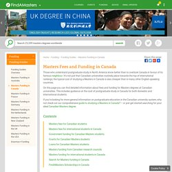 Masters Fees and Funding in Canada
