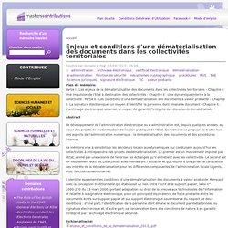 Enjeux et conditions d'une dématérialisation des documents dans les collectivités territoriales