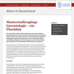 Masterstudiengänge Gerontologie – ein Überblick