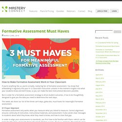 MasteryConnect Blog » Blog Archive Formative Assessment Must Haves - MasteryConnect Blog