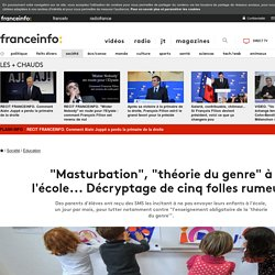 """""""Masturbation"""", """"théorie du genre"""" à l'école... Décryptage de cinq folles rumeurs"""