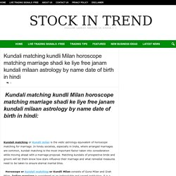 Kundali matching kundli Milan horoscope matching marriage