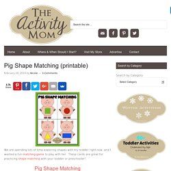 Pig Shape Matching (printable) - The Activity Mom