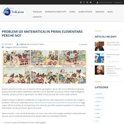 Problemi (di matematica) in prima elementare: perché no? – Associazione Tokalon