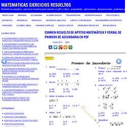 EXAMEN RESUELTO DE APTITUD MATEMÁTICA Y VERBAL DE PRIMERO DE SECUNDARIA EN PDF