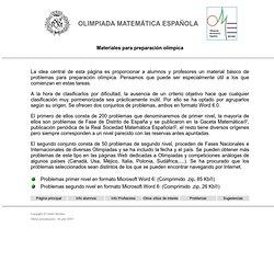 Olimpiada Matemática Española: materiales para preparación olímpica