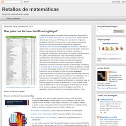 Que pasa coa lectura científica en galego?