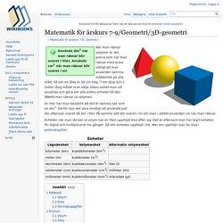 Matematik för årskurs 7-9/Geometri/3D-geometri - Wikibooks