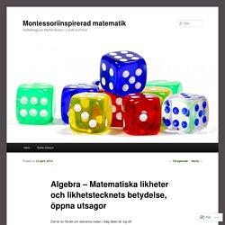 Algebra – Matematiska likheter och likhetstecknets betydelse, öppna utsagor