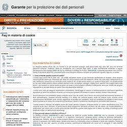 Faq in materia di cookie - Garante Privacy