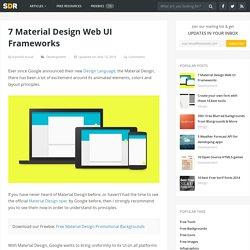 7 Material Design Web UI Frameworks - Super Dev Resources