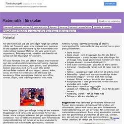 Material - Matematik i förskolan