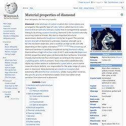 Material properties of diamond