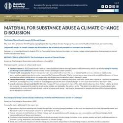 Material for Substance Abuse & Climate Change Discussion