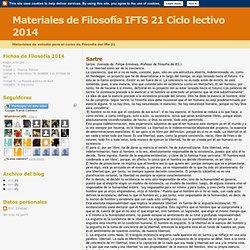 Materiales de Filosofía IFTS 21 Ciclo lectivo 2014: Sartre