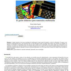 Elena Galán Fajardo: El guión didáctico para materiales multimedia - nº 34 Espéculo (UCM)