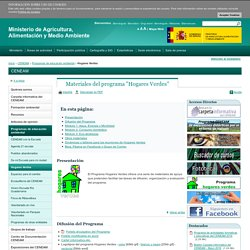 """Materiales del programa """"Hogares Verdes"""" - Hogares Verdes - Programas de educación ambiental"""