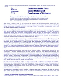 Draft Manifesto for a Social Materialist Psychology of Distress