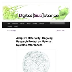 Adaptive Materiality: Ongoing Research Project on Material Systems Affordances | Digital [Sub]stance