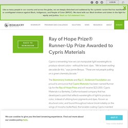 Ray of Hope Prize® Runner-Up Prize Awarded to Cypris Materials – Biomimicry Institute