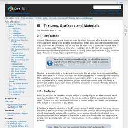 III - Textures, Surfaces and Materials [Documentation Center]