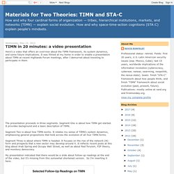 Materials for Two Theories: TIMN and STA-C: TIMN in 20 minutes: a video presentation