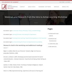 Materials and Research from the Intro to Active Learning Workshop