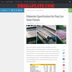 Materials Specification for Pop Can Solar Panels