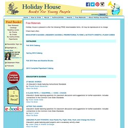 Holiday House Free Materials for Teachers and Librarians