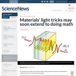 Materials' light tricks may soon extend to doing math