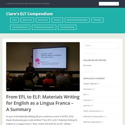 From EFL to ELF: Materials Writing for English as a Lingua Franca – A Summary – Clare's ELT Compendium