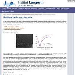 Institut Langevin - Ondes et Images : Matériaux localement résonants