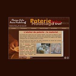 Le matériel de l'atelier de poterie de Corenc. Cours de poterie, stages de poterie à Grenoble par Florian Culis, artiste et artisan potier: raku, tour, tournage, modelage, jarre à la corde, ...