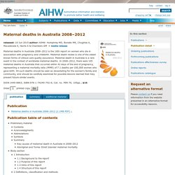 Maternal deaths in Australia 2008â2012