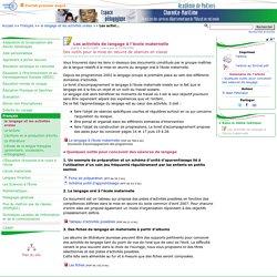 Les activités de langage à l'école maternelle- Pédagogie - Direction des services départementaux de l'éducation nationale du 17
