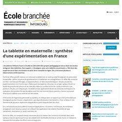 La tablette en maternelle : synthèse d'une expérimentation en France