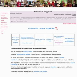 Maternelle : le langage oral - maternelle, cycle 1, langage, oral