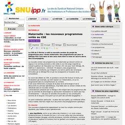 SNIUPP : les nouveaux programmes votés au CSE